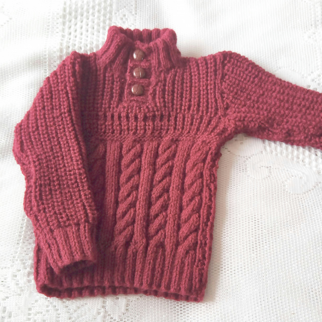 Cable and Rib Pattern Hand Knitted Children's Jumper, Children's Clothes