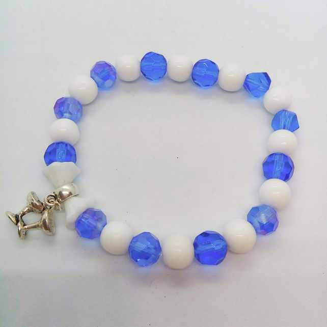 Blue and White Stretch Beaded Bracelet with Flower Beads and Silver Glass Charm