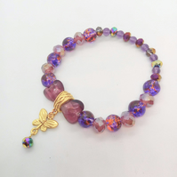Purple Glass Bead and Heart Stretch Bracelet with a Gold Butterfly Charm