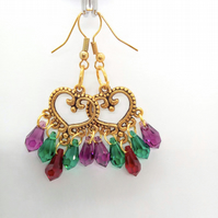 Purple Green and Red Teardrop Crystal Chandelier Earrings, Gift for Her