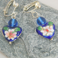 Cobalt Blue Heart Shaped Cloisonne Bead and Glass Bead Earrings for Pierced Ears