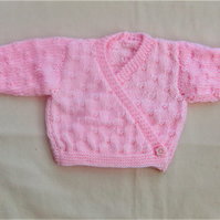 Hand Knitted Crossover Style Ballerina Cardigan for a Premature Baby Girl