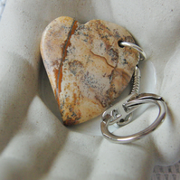 Caramel Coloured Jasper Heart Keyring, Gift for Her, Teachers Gift