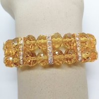 2 Strand Topaz Crystal Stretch Bracelet, Jewellery Gift for Her