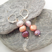 Purple Peach and Lilac Freshwater Pearl Earrings for Pierced Ears, Gift for Her
