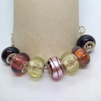 Multi Coloured European Lampwork Bead Bracelet on a Silver Plated Chain