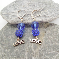 Blue Shamballa and Crystal Earrings with Love Charm, Gift for Her