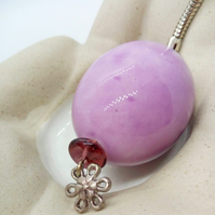 Mottled Purple Puffed Oval Ceramic Keyring with Saucer Bead and Flower Charm