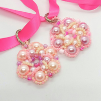 Hand Sewn Beaded Flower Pendant on a Pink Ribbon Necklace