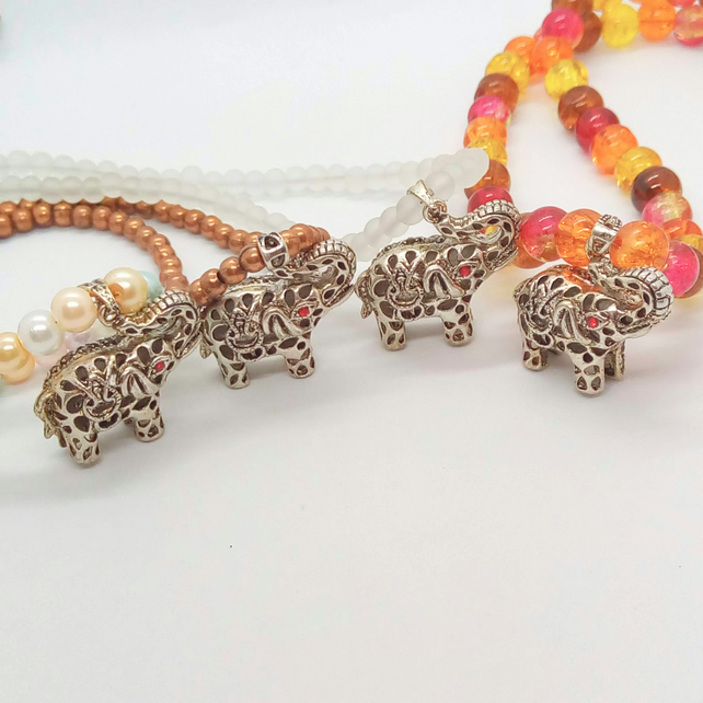 Silver Elephant Pendant on a Beaded Necklace, Jewellery Gift for Her