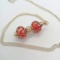 Lampwork Beaded Pendant Necklace, Red and Silver Beaded Necklace