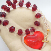 Red Glass Heart Pendant Necklace on a Red and Clear Crystal Necklace