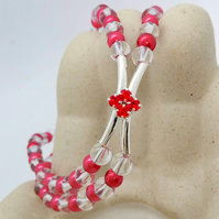 Red Crystal Centrepiece on a 2 Strand Red and Clear Beaded Band, Gift for Her