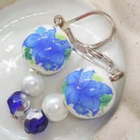 Blue and White Floral Bead Earrings With Pearl and Crystal Beads, Gift for Her