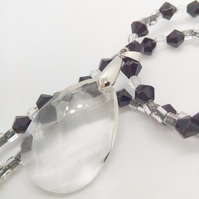 Clear Oval Crystal Pendant on a Black and Clear Beaded Necklace, Gift for Her