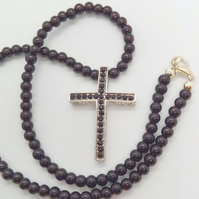 Black Crystal Cross Pendant on a Black Beaded Necklace, Black Necklace