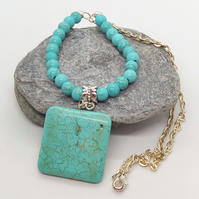 Blue Turquoise Square Pendant on a Turquoise Bead and Chain Necklace
