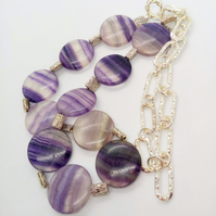 Long Line Necklace with Large Purple Fluorite Coin Beads On A Silver Chain