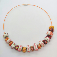 Pink Red Orange and Yellow Lampwork Bead Choker Necklace, Gift for Her