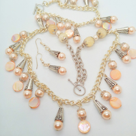 Pearl Mother of Pearl and Jade Beaded Charm and Chain Jewellery Set