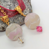 Large Pink Ball Pendant  and Crystal With a Choice of Necklace, Gift for Her