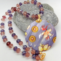 Lilac Floral Mother of Pearl Pendant on a Purple Lilac & Clear Crystal Necklace