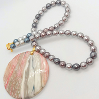 Circular Pink & Grey Mother of Pearl Pendant on a Shades of Grey Pearl Necklace