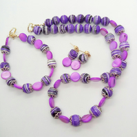 Purple Mother of Pearl & Purple Agate Beaded Jewellery Set, Gift for Her