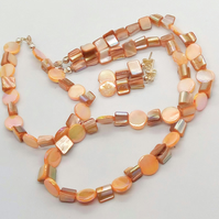 Peach Mother of Pearl Discs and Shell Cube Bead Jewellery Set, Gift for Her