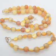 Yellow Mother of Pearl and Lemon Jade Bead 3 Piece Jewellery Set, Gift for Her