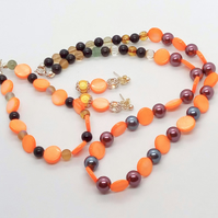 Orange Mother of Pearl Discs and Glass Bead Jewellery Set, Gift for Her