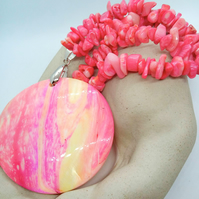 Pink Mother of Pearl Pendant on a Pressed Coral Chip Necklace,