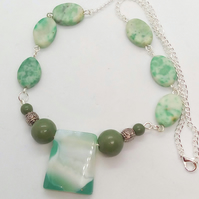 Green Glass Bead with Jade and Turquoise Beads on a Silver Chain Necklace