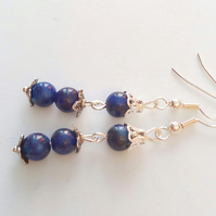 Earrings Made With Lapis Lazuli Beads and Silver Plated Flower Bead Caps
