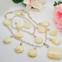 Honey Yellow Jade and Silver Plated Chain Jewellery Set with Silver Beads