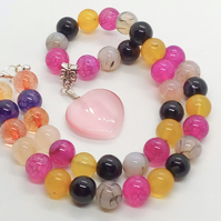 Pink Glass Heart Pendant on a Multi Coloured Glass Bead Necklace, Gift for Her
