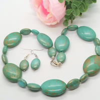 Blue Large and Small Turquoise Oval Bead Jewellery Set, Jewellery Gift for Her