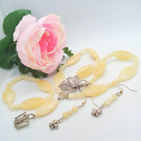 Semi Precious Lemon Jade Jewellery Set with Butterfly Pendant and Earrings