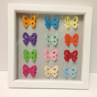 Multicoloured Butterfly Picture in a Wooden Deep Box Frame
