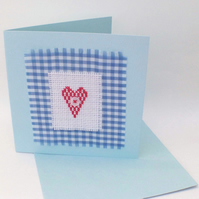 Cross Stitched Heart Card - Blue Card with a Red Heart Cross Stitch Design