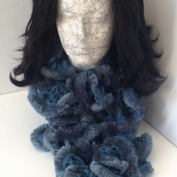 Hand Knitted Blue Scarf - Perfect for Cooler Months