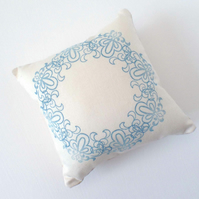 Small Cream Square Pin Cushion with Stamped Design