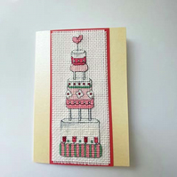 Cross Stitch Wedding Cake Card - Blank for your Own Personal Message