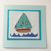 Sailing Boat Cross Stitch Card - Blank for your Own Message