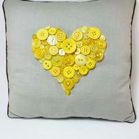 Yellow Button Heart Decorative Cushion
