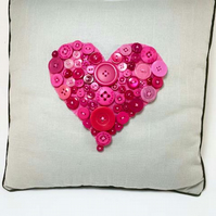 Pink Button Heart Decorative Cushion