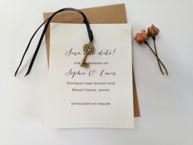 Hanging Key Wedding save the date card