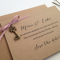 Wedding save the date card with little key