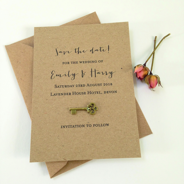Tiny Key save the date card