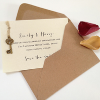 Vintage Style Key save the date card